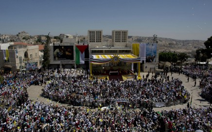 The pope visited Palestine in Bethlehem and Waldo was there